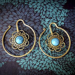 Jewelry - Brass turquoise mandala lotus hoops earrings